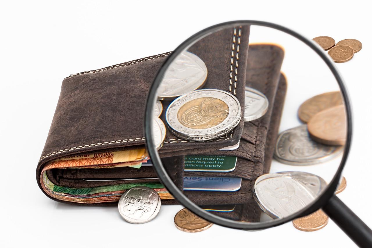 portfel widziany przez lupę